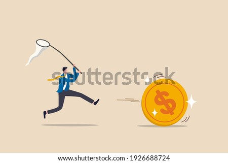 Chasing high performance active mutual fund, buying rising star stock or funds, catch or grab hot ETFs concept, businessman investor run chasing try to catch high performance attractive dollar coin. Foto stock ©