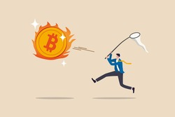 Chasing high performance bitcoin crypto currency in bull market, greedy speculation in Bitcoin trading concept, greedy businessman investor chasing try to catch hot fire flying bitcoin.