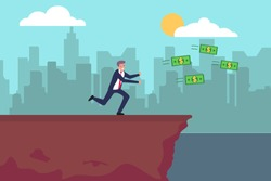 Chasing money vector concept: Old businessman chasing money toward the gap
