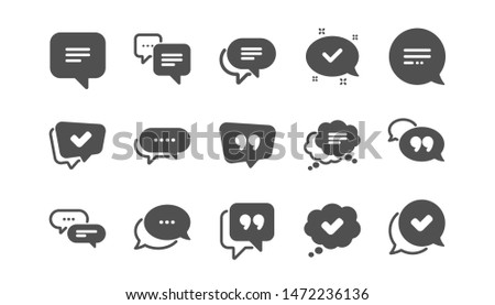 Chat and quote icons. Approved, Checkmark box and Social media message. Chat speech bubble, Tick or check mark, Comment quote icons. Think speech bubble. Classic set. Quality set. Vector Stock photo ©