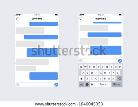 Chat App Template Whith Mobile Keyboard Social Network Concept Vector Illustration Message