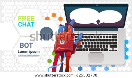 Chat Bot Hands Using Laptop Computer, Robot Virtual Assistance Of Website Or Mobile Applications, Artificial Intelligence Concept Flat Vector Illustration