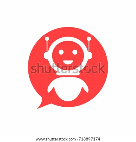 Chat bot icon in speech bubble shape background. Virtual assistant for website. Chat bot concept for customer service. Vector