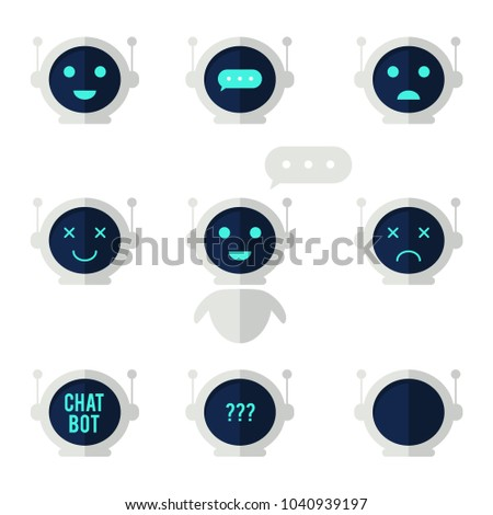 Chat bot icon set. Robot with speech bubble and different emotions. Virtual assistant for website, mobile app and customer service. Vector