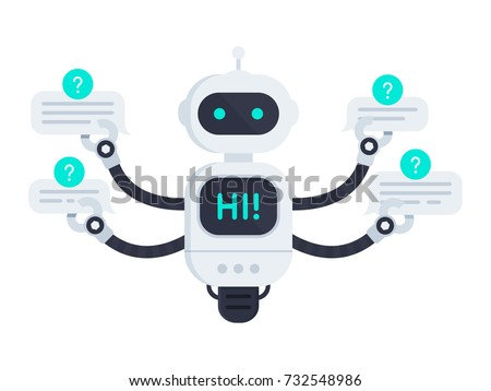 Chat bot isolated on white. Bot holds speech bubbles. Robot say hi on screen and has one singular wheel. Customer support service chat bot. Flat vector illustration