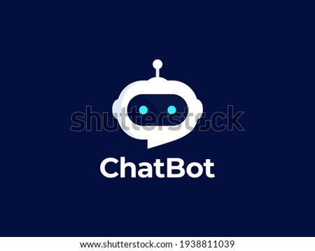 Chat Bot logo design. Virtual assistant Bot icon. Robot head with speech bubble. Customer support service Chat Bot. Vector illustration