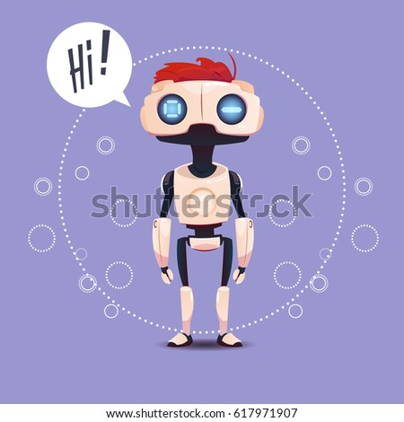 Chat Bot, Robot Virtual Assistance Element Of Website Or Mobile Applications, Artificial Intelligence Concept Flat Vector Illustration