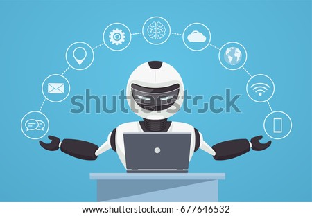 Chat bot, robot virtual assistance. Robot sits behind a laptop w