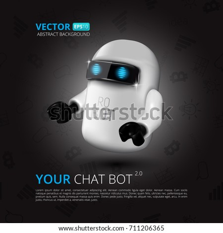 Chat Bot, The Concept Of Virtual Assistant For UI, Mobile Application Or Website Design. Vector Illustration Of Robot Isolated On Black Background With Flat Symbols
