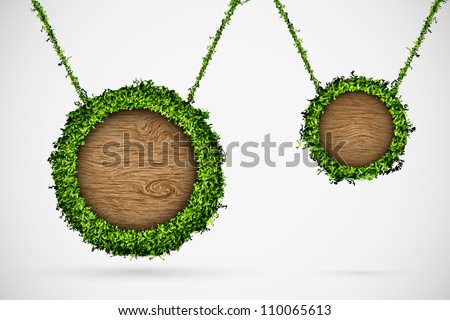 Chat box of grass and trees, hanging on the rope
