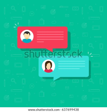 Chat bubble icon vector illustration, flat style messages bubbles with man and woman icons, idea of internet dialog, communication, conversation, talk