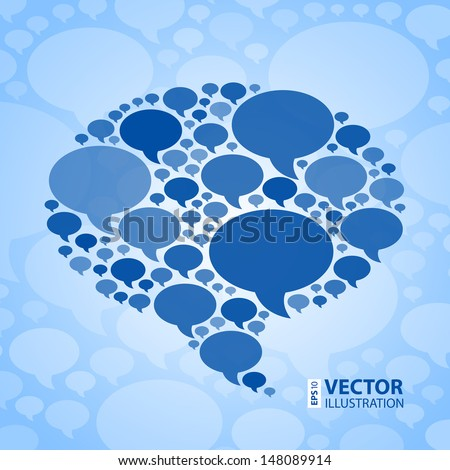 Chat bubble symbol on light blue background RGB EPS 10 vector illustration