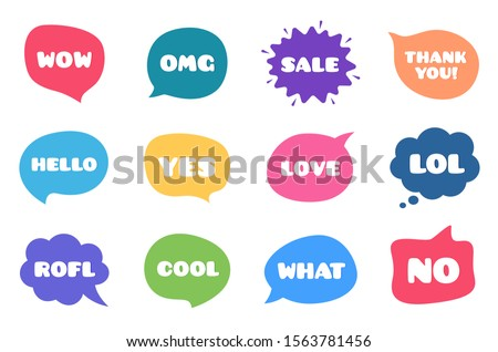 Chat bubble talk phrases. Clouds with different words. Speech bubbles with text. Wow, omg and yes tags. Vector