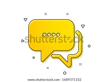 Chat comment sign. Message icon. Speech bubble symbol. Yellow circles pattern. Classic message icon. Geometric elements. Vector