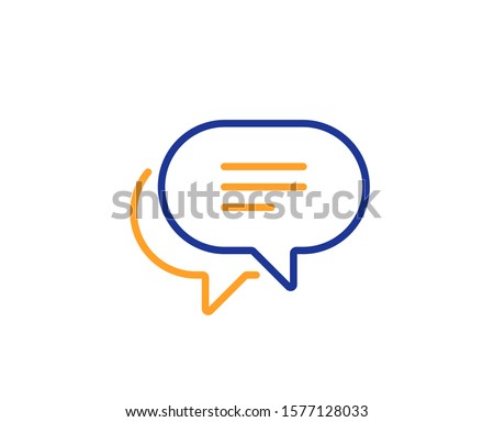 Chat comment sign. Text message line icon. Speech bubble symbol. Colorful outline concept. Blue and orange thin line text message icon. Vector Сток-фото ©