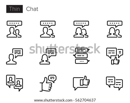 Chat & Communication Thin line Vector Icons set