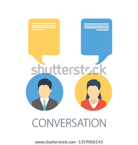 Chat conversation messages. vector messages notification. illustration of flat sms bubbles, man chatting on cellphone with woman isolated