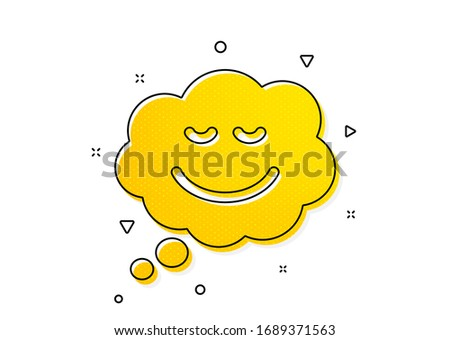 Chat emotion sign. Comic speech bubble with Smile icon. Yellow circles pattern. Classic speech bubble icon. Geometric elements. Vector