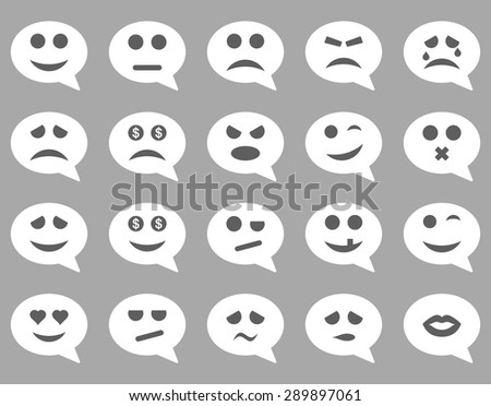 Chat Emotion Smile Icons Vector Set Style Bicolor Flat Images