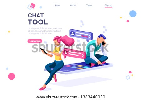 Chat equipment, download tool, simple dating signs. Spanner symbols, colorful set. Flat isometric illustration isolated on white background. Line spanner tool icon for web banner or infographic images