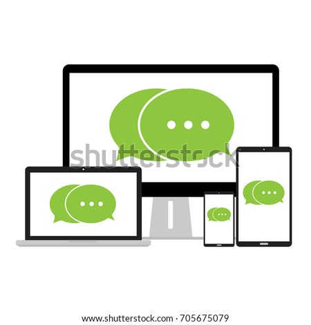 Chat green message notifications on mobile phone labtop tablet and computer PC. Vector illustration concept of online talking speak conversation and dialog design.