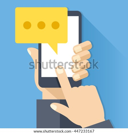 Chat icon, message on smartphone screen. Hand holds smartphone, finger touches screen. Modern instant messaging concept for web banner, web site, infographics. Creative flat design vector illustration