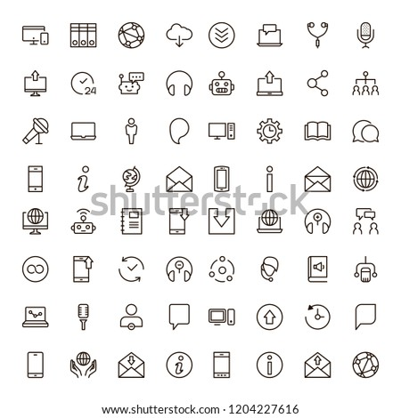 Chat icon set. Collection of high quality outline message pictograms in modern flat style. Black bubble symbol for web design and mobile app on white background. Forum line logo. #1204227616