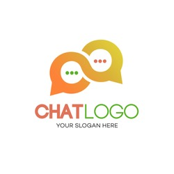 Chat logotype gradient style for community, chat bot, chatting technology, social media. Vector 10 eps