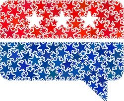 Chat message mosaic of stars in various sizes and color hues. Chat message illustration uses American official blue and red colors of Democratic and Republican political parties, and star parts.
