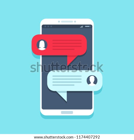 Chat message on smartphone. Mobile phone chatting, people texting cellphone messages and sms messaging bubble text on phones screen, woman and man conversation vector flat illustration