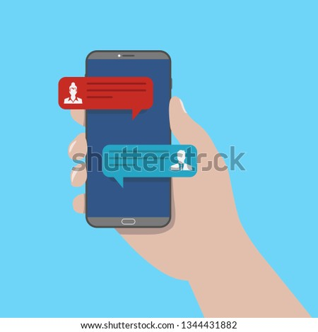 Chat message on smartphone. Mobile phone chatting, people texting cellphone messages and sms messaging bubble text on phones screen, woman and man conversation vector flat illustration.