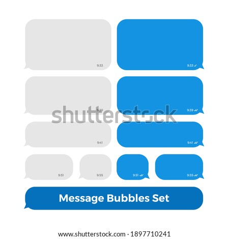 Chat Messages Bubbles Icon Set Social Media with Times and Read Sign. Vector Illustration. Bubbles Blue on White Background.