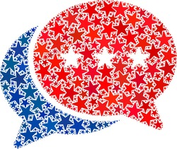 Chat messages composition of stars in variable sizes and color hues. Chat messages illustration uses American official blue and red colors of Democratic and Republican political parties,