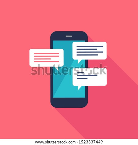 Chat messages notification on mobile phone. Sms bubbles on screen. Person chatting on cellphone.