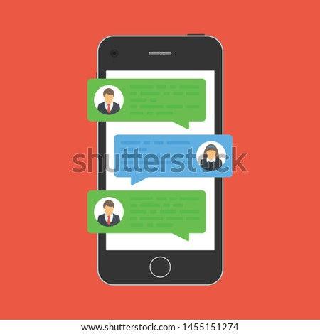 Chat messages notification on smartphone screen. Cartoon sms bubbles on mobile phone. Online talking, chatting, speak, conversation or dialog concept. Vector illustration in flat style. EPS 10.