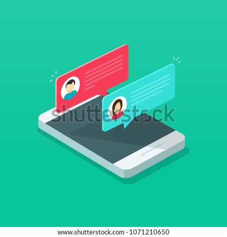 Chat messages notification on smartphone vector illustration, flat cartoon isometric sms bubbles on mobile phone screen, man person chatting on cellphone with woman, 3d isolated