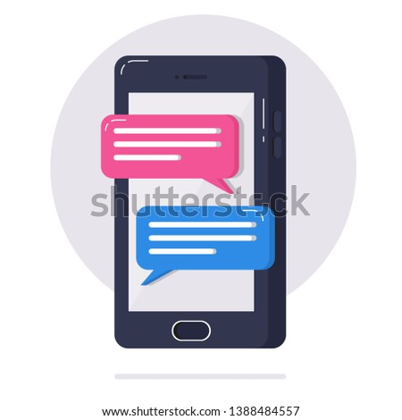 Chat messages notification on smartphone vector illustration, flat cartoon message bubbles on mobile phone screen, person chatting in messenger app