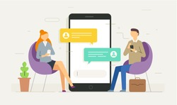 Chat messages notification on smartphone vector illustration, flat cartoon sms bubbles on mobile phone screen, man person chatting on cellphone with woman isolated. Private chat