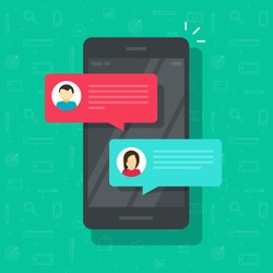Chat messages notification on smartphone vector illustration, flat cartoon sms bubbles on mobile phone screen, man person chatting notice on cellphone with woman isolated