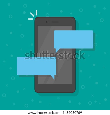 Chat messages notification on smartphone vector illustration, flat cartoon sms bubbles on mobile phone screen, man person chatting on cellphone with woman isolated