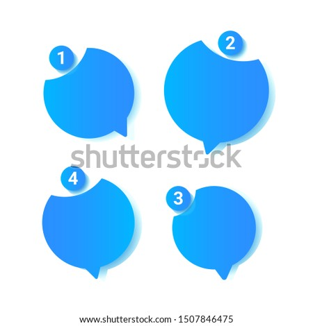 Chat messages notification vector illustration, flat cartoon sms bubbles for mobile chatting
