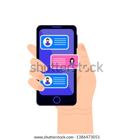 Chat messages notification with  sms bubbles on mobile phone screen. Man chatting on cellphone with woman. Text messaging flat design concept.