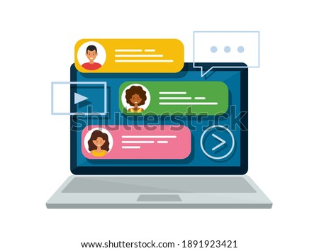 Chat messages on laptop. Online forum and internet chatting concept. Vector isolated illustration. Stock photo ©