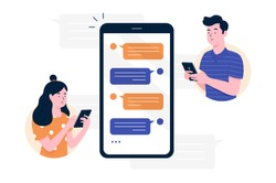 Chat messages smartphone, Sms on mobile phone screen. Man, woman couple chatting, Messaging using chat app or social network. Two persons cellphone conversation sending messages. vector illustration.
