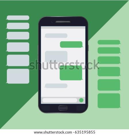 Chat mobile, messages, bubbles, text messages, messenger. Vector
