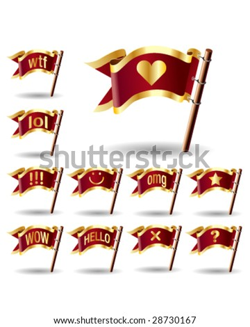 Chat or instant message icons on royal vector flag buttons - good for web, print, advertising, and promotion