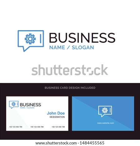 Chat Preferences, Chat Setting, Chat Support Blue Business logo and Business Card Template. Front and Back Design. Vector Icon Template background