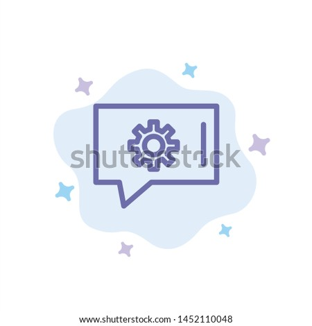 Chat Preferences, Chat Setting, Chat Support Blue Icon on Abstract Cloud Background