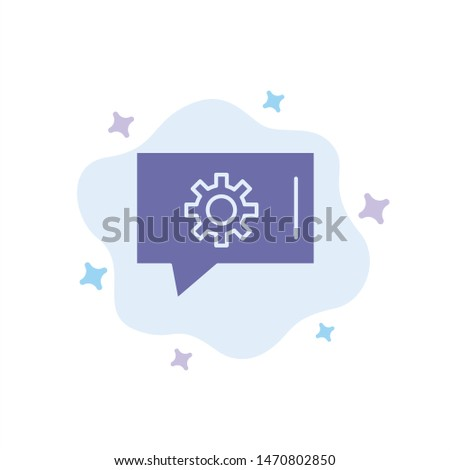 Chat Preferences, Chat Setting, Chat Support Blue Icon on Abstract Cloud Background. Vector Icon Template background