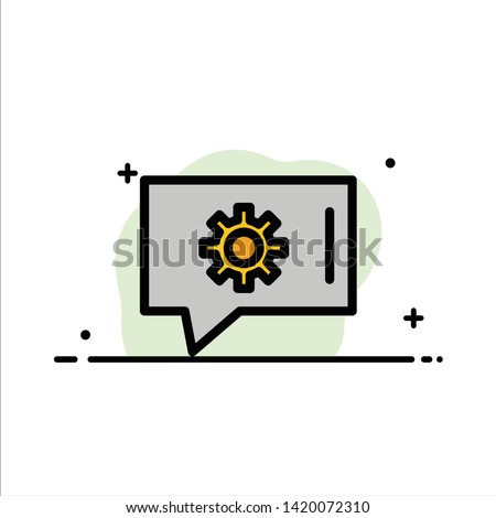 Chat Preferences, Chat Setting, Chat Support  Business Flat Line Filled Icon Vector Banner Template